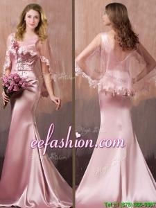 Gorgeous Mermaid V Neck Beaded Prom Dress with Brush Train