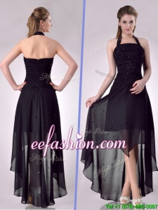 Hot Sale Halter Top High Low High Low Prom Dress with Beading