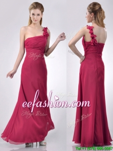 Hot Sale One Shoulder Red Prom Dress with Appliques and Ruching