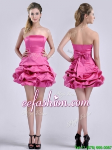 Latest A Line Bubble and Bowknot Taffeta Prom Dress in Hot Pink