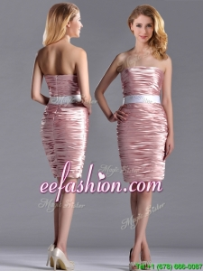 Lovely Column Peach Prom Dress with Ruching and White Belt