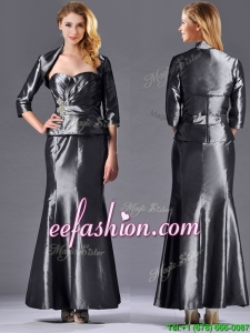 Mermaid Sweetheart Ankle-length Beaded Silver Mother Of The Bride Dress with Jacket
