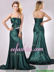 Modest One Shoulder Dark Green Prom Dress in Elastic Woven Satin