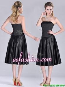 Most Popular Zipper Up Strapless Black Prom Dress in Tea Length