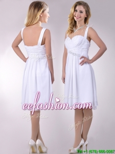 New Applique Decorated Straps and Waist White Prom Dress in Chiffon