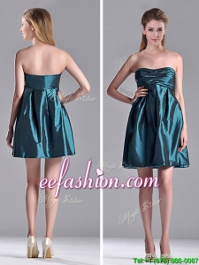 New Arrivals Strapless Ruched Taffeta Short Prom Dress in Teal