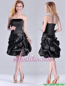 New Arrivals Strapless Taffeta Black Prom Dress in Knee Length