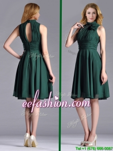 New High Neck Handmade Flower Dark Green Prom Dress with Open Back