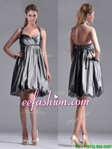 New Style Halter Top Taffeta Silver Prom Dress with Backless