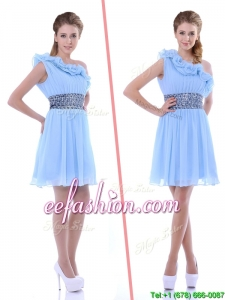 One Shoulder Light Blue Prom Dress with Beaded Decorated Waist and Ruffles