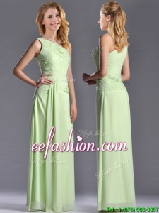 Pretty One Shoulder Side Zipper Yellow Green Prom Dress with Ruching