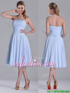 Pretty Strapless Chiffon Ruched Lavender Prom Dress in Tea Length