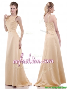 Simple Column Scoop Bowknot Mother Of The Bride Dress in Champagne