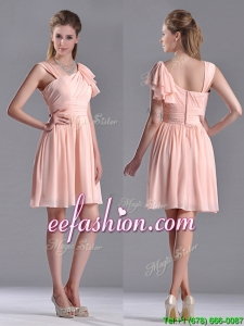 Simple Empire Ruched Peach Prom Dress with Asymmetrical Neckline