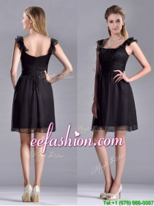 Simple Empire Square Chiffon Black Prom Dress with Cap Sleeves