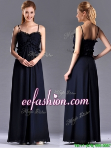 Simple Empire Straps Chiffon Ruching Navy Blue Prom Dress for Holiday