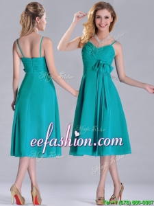 Spaghetti Straps Ruched and Belted Turquoise Prom Dress in Tea Length