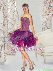 2015 Fashionable Multi-color Prom Dress with Beading and Ruffles