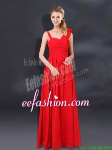 2015 Ruching Empire Prom Dresses with Asymmetrical