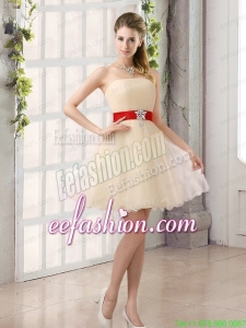 A Line Belt Strapless Prom Dress with Mini Length