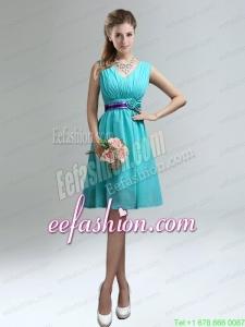 Elegant V-neck Ruched Prom Dress with Belt for Sale