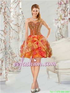Luxurious Multi-color Prom Dress with Beading and Ruffles for 2015