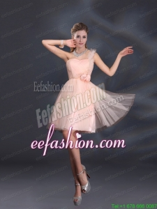 One Shoulder A Line Tulle Prom Dresses with Hand Made Flowers