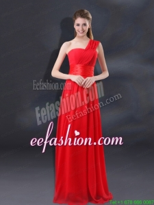 One Shoulder Ruching Empire Prom Dresses for 2015