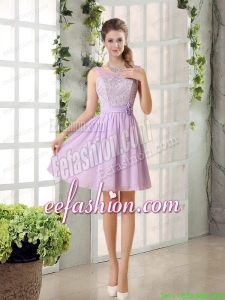 Perfect Prom Dress Ruching with Hand Made Flower in Lilac