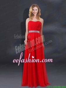 Sequin Decorate Waist Ruching Empire Prom Dresses