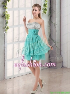 Sweetheart A Line Prom Dress with Sequins and Handle Made Flowers