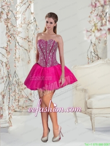 The Brand New Style Beading and Ruffles Fuchsia Prom Dress for 2015