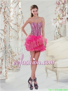 Trendy Beading and Ruffles Hot Pink Prom Dress for 2015