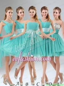 2015 A Line Ruching Lace Up Prom Dress in Aqua Blue