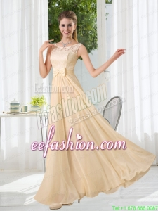 Bateau Empire Prom Dress with Lace and Belt
