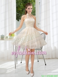Halter Appliques Lace Up Prom Dress in Champagne