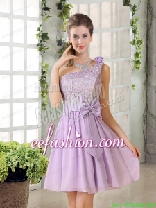 One Shoulder Lilac Prom Dress with Bowknot for 2015