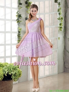 The Most Popular Lilace One Shoulder A line Prom Dress with Rushing