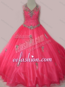 2016 Fashionable Beaded and Applique Little Girl Quinceanera Dress with V Neck