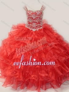 Ball Gown Straps Organza Beaded Bodice Lace Up Little Girl Quinceanera Dress in Red