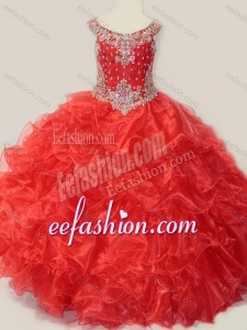 Beautiful Beaded and Ruffled Organza Little Girl Quinceanera Dress in Red