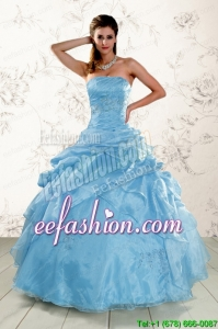 2015 Amazing Appliques Quinceanera Dresses in Aqua Blue