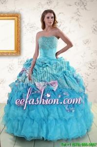 2015 Amazing Aqua Blue Appliques Quinceanera Dresses with Appliques