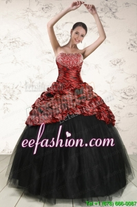 2015 Amazing Ball Gown Leopard Quinceanera Dresses in Multi-color