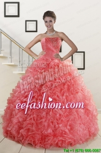 2015 Amazing Watermelon Red Sweet 15 Dress with Beading