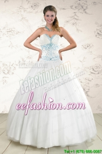 2015 Modern White Quinceanera Dresses with Appliques and Beading