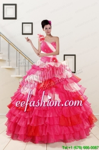 2015 One Shoulder Amazing Quinceanera Dresses in Multi Color