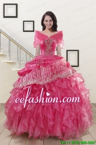 2015 Popular Appliques and Ruffles Quinceanera Gowns in Hot Pink