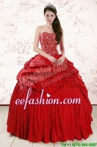 2015 Red Amazing Sweetheart Beading Quinceanera Dresses