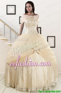 Amazing Appliques 2015 Champagne Quinceanera Dress with Wraps